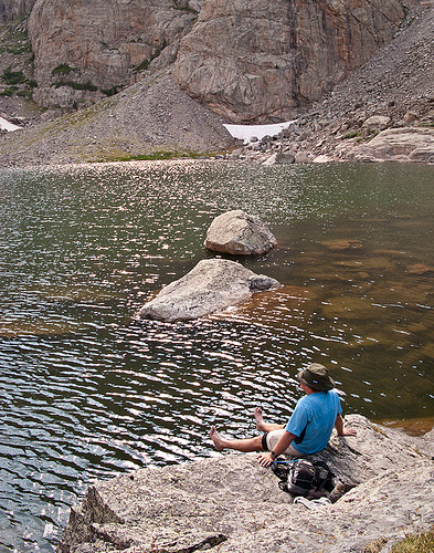 Bryan soaks his feet at Sky Pond