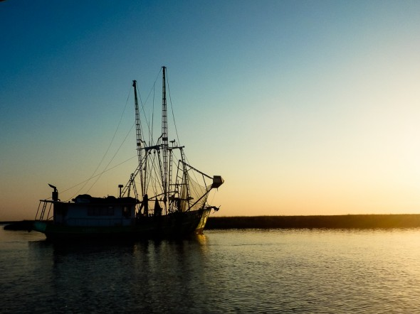 Louisiana shrimp boat at dawn